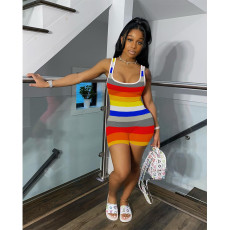 Plus Size Colorful Striped Sleeveless Rompers SHE-7188
