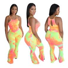 Tie Dye Print Sexy Two Piece Pants Set WAF-7013