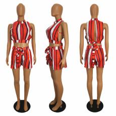 Sexy Striped Sleeveless Backless 2 Piece Shorts Set SHE-7905