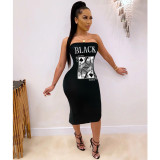 Plus Size 4XL Poker Print Strapless Midi Tube Dress SHE-7191