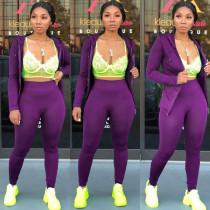 Plus Size Solid Zipper Hooded Two Piece Pants Set LQ-5847