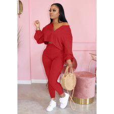 Plus Size 4XL Solid Long Sleeve Two Piece Pants Set MIL-128