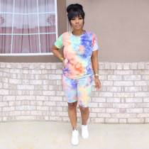 Tie Dye Print O Neck Two Piece Shorts Set SH-3799