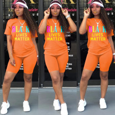 Letter Print T Shirt Shorts Two Piece Sets SH-3795