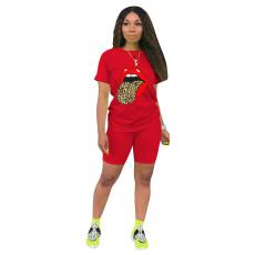 Plus Size Sports Casual Tongue Print T-shirt Shorts Suits NK-8560
