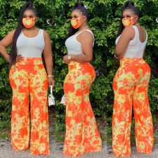 Tie Dye Print High Waist Wide Leg Pants With Mask SH-3798