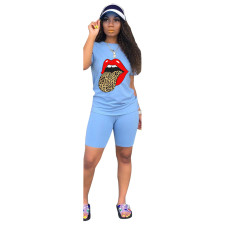 Plus Size Sports Casual Tongue Print T-shirt Shorts Suits NK-8560