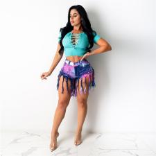 Plus Size Tie Dye Denim Tassel Jeans Shorts SH-3797