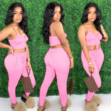 Sexy Pink Cami Top Long Pants Two Piece Sets ABF-4009