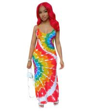 Sexy Tie-Dye Suspenders Maxi Dress NK-8561