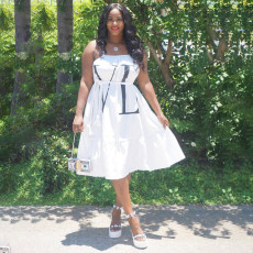 Letter Print Loose Midi Slip Dress Without Belt MEI-9097