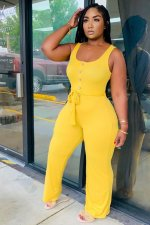 Solid Sleeveless Sashes One Piece Jumpsuits HM-6330