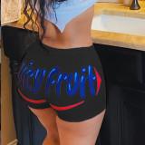 Plus Size 4XL Sexy Printed Low Waist Skinny Shorts SHD-9288