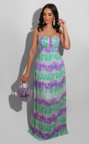 Tie Dye Print Strapless Backless Maxi Tube Dress BS-1201