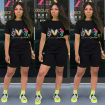 Casual Printed T Shirt And Shorts 2 Piece Sets HM-6322