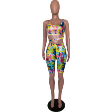 Tie Dye Sleeveless Sexy Two Piece Shorts Set ARM-8196