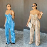 Sexy Striped Backless Strap One Piece Jumpsuits YM-9215