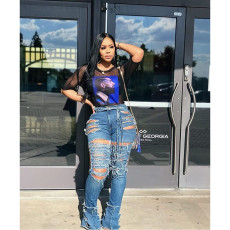 Plus Size Denim Ripped Hole High Waist Flared Jeans HSF-2083