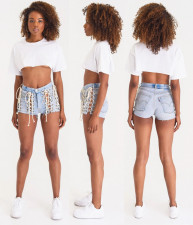 Personality Bandage High Waist Sexy Fashion Denim Shorts LA-3203