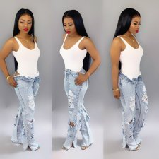 Plus Size Denim Hole Inelastic Straight Long Jeans HSF-2062