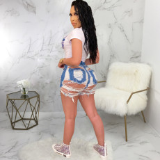 Plus Size Denim Ripped Hole Jeans Shorts HSF-2257
