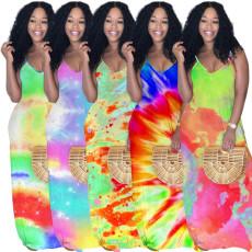 Tie Dye Print Gradient Spaghetti Strap Maxi Dress PN-6569