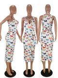 Butterfly Print Sleeveless Slim Midi Dress WSM-5163