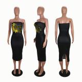 Plus Size 4XL Sunflower Print Bodycon Midi Tube Dress SHE-7193