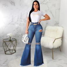 Plus Size Denim Hole Skinny Flared Jeans HSF-2074