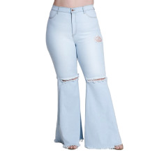 Plus Size 5XL Fat MM Denim Hole Skinny Jeans HSF-2108