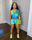 Tie-Dye Cardigan Shorts Sexy Casual Suit CM-762