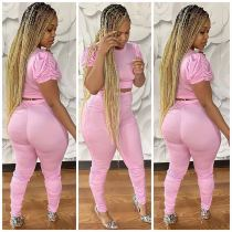 Pink Ruched Sleeve Stacked Pants Two Piece Outfits OD-8373