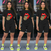 Tongue Print T Shirt Shorts Casual Two Piece Suits MA-345