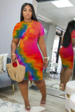 Plus Size Tie Dye Print Short Sleeve Bodycon Dress FNN-8514