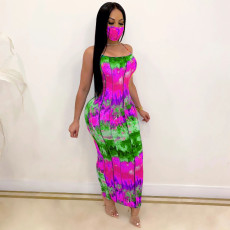 Backless Suspenders Slim Sexy Tie-dye Dress With Mask CM-766