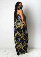 Sexy Printed Spaghetti Strap Maxi Dress Without Mask TR-1053