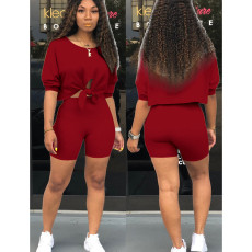 Casual Solid Tie Up Two Piece Shorts Set OFN-3177