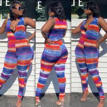 Fashion Tie-dye Horizontal Stripes Lapel Sleeveless Jumpsuit BS-1200