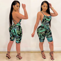 Sexy Open Back Sleeveless Printed Party Club Playsuit RM-6295