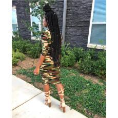 Fashion Casual Camouflage Long Sleeve Dress TEN-3389