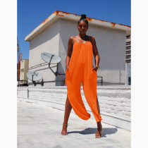 Casual Solid Side Split Strap One Piece Jumpsuits HHF-9019