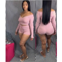 Sexy Striped Slash Neck Two Piece Shorts Set WUM-862