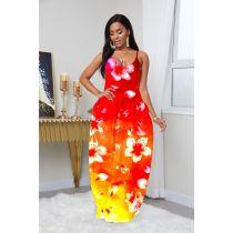 Plus Size Fashion Gradient Print Sexy Deep V Sling Dress YFS-3527