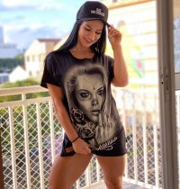 Casual Printed Shorts Sleeve Split Long Style T Shirt HHF-9007