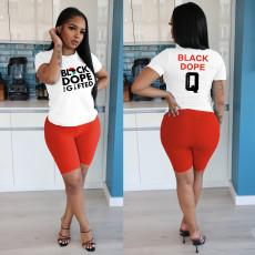 Letter Print T Shirt Shorts Two Piece Suits IV-8110