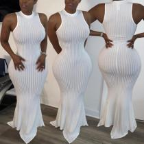Plus Size Solid Sleeveless Rib Knitted Slim Maxi Dress BGN-095