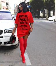 Plus Size Letter Print Casual T Shirt Dress QZX-6137