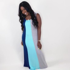 Casual Contrast Color Sleeveless Maxi Dress LDS-3227