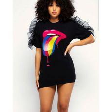 Black Tongue Print Mesh Sleevel Mini Dress YIS-508