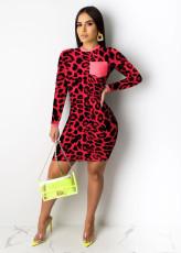 Leopard Print Long Sleeve Mini Bodycon Dress WSM-5178